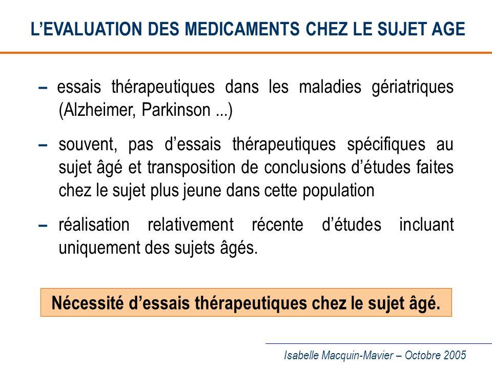 L'EVALUATION DES MEDICAMENTS CHEZ LE SUJET AGE