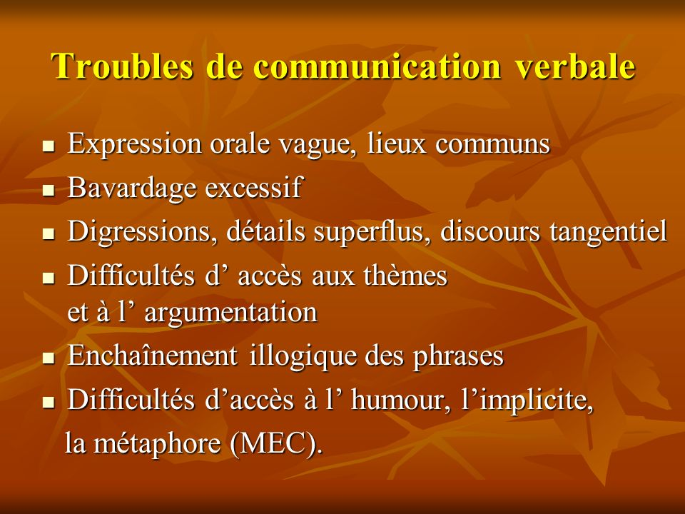 Troubles de communication verbale