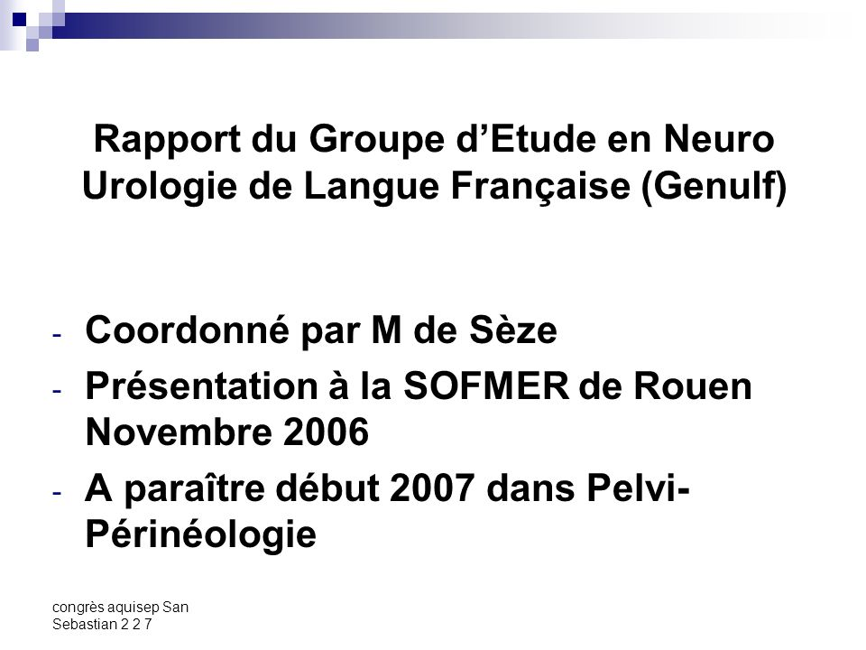 Présentation à la SOFMER de Rouen Novembre 2006