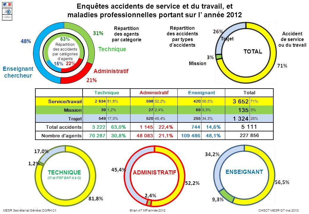 Enquêtes accidents de service et du travail, et maladies professionnelles portant sur l' année 2012