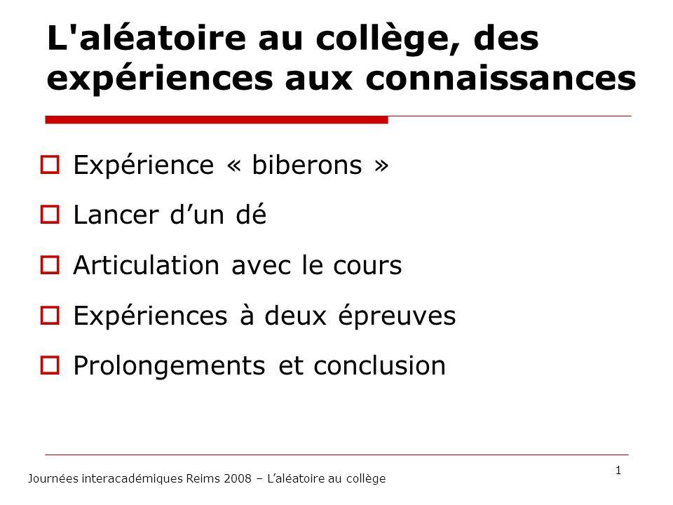 L aléatoire au collège, des expériences aux connaissances