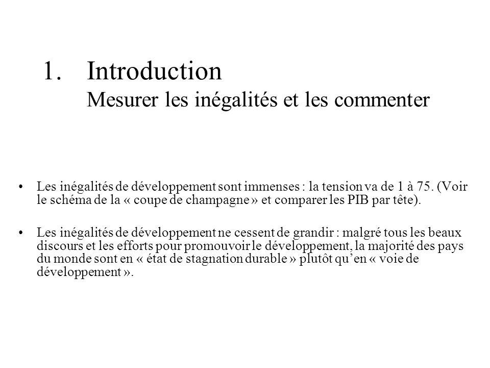 Introduction Mesurer les inégalités et les commenter