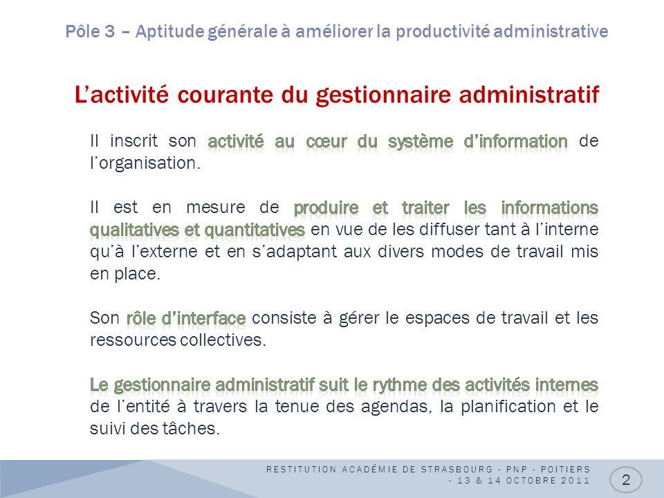 Pôle 3 – Aptitude générale à améliorer la productivité administrative L'activité courante du gestionnaire administratif