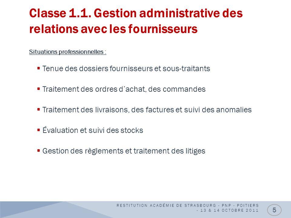 Classe 1.1. Gestion administrative des relations avec les fournisseurs