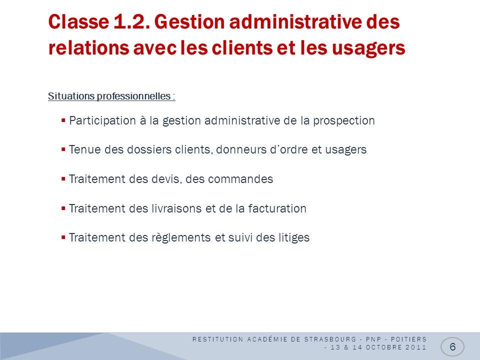 Classe 1.2. Gestion administrative des relations avec les clients et les usagers