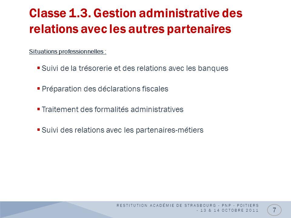 Classe 1.3. Gestion administrative des relations avec les autres partenaires