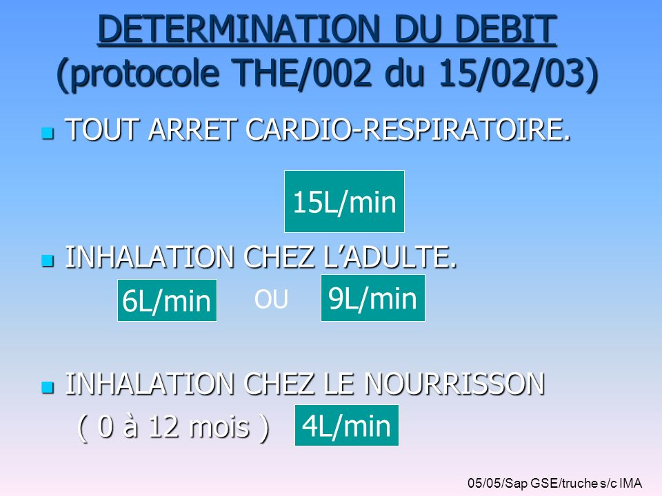 DETERMINATION DU DEBIT (protocole THE/002 du 15/02/03)