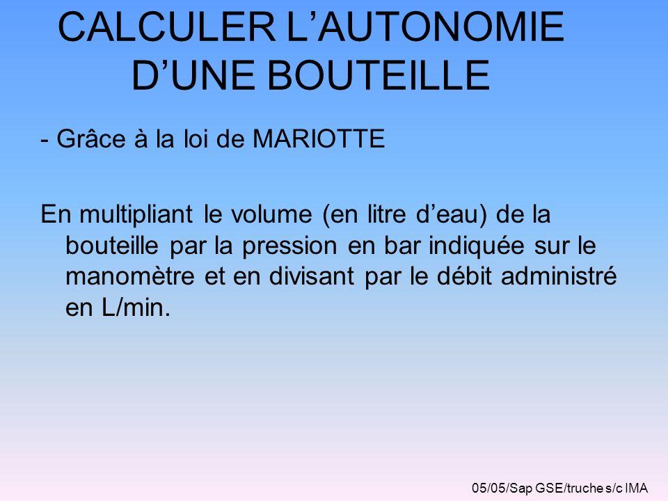 CALCULER L'AUTONOMIE D'UNE BOUTEILLE