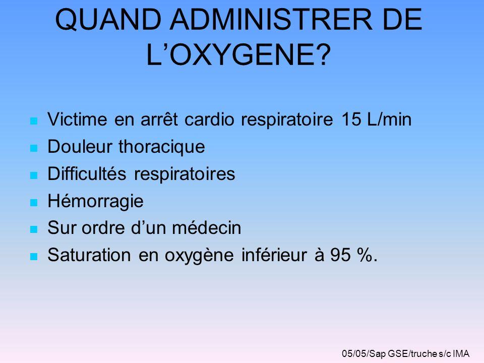 QUAND ADMINISTRER DE L'OXYGENE
