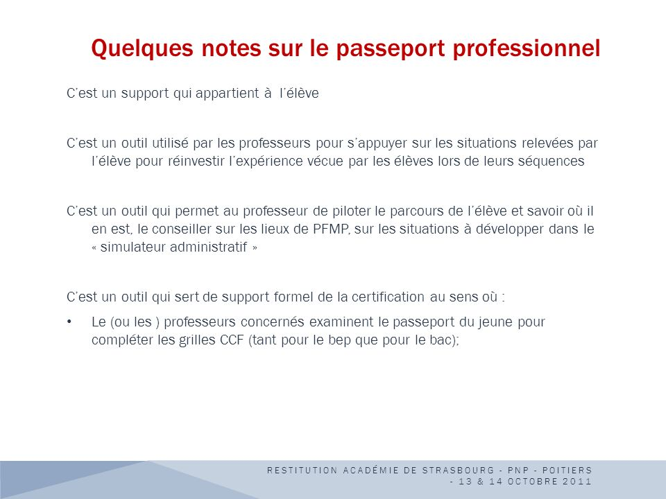 Quelques notes sur le passeport professionnel