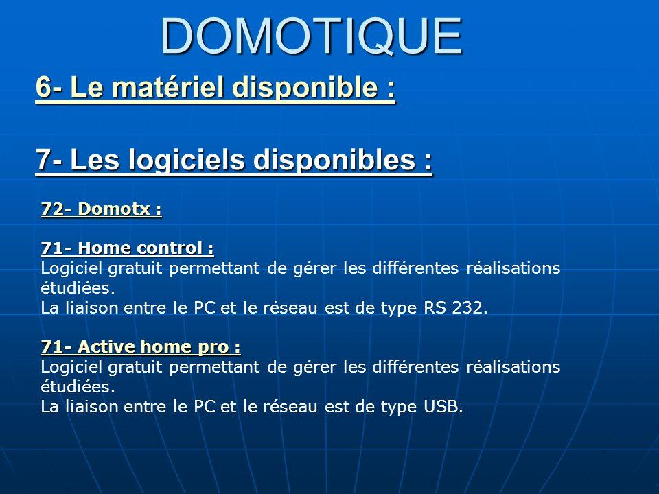 DOMOTIQUE 6- Le matériel disponible : 7- Les logiciels disponibles :