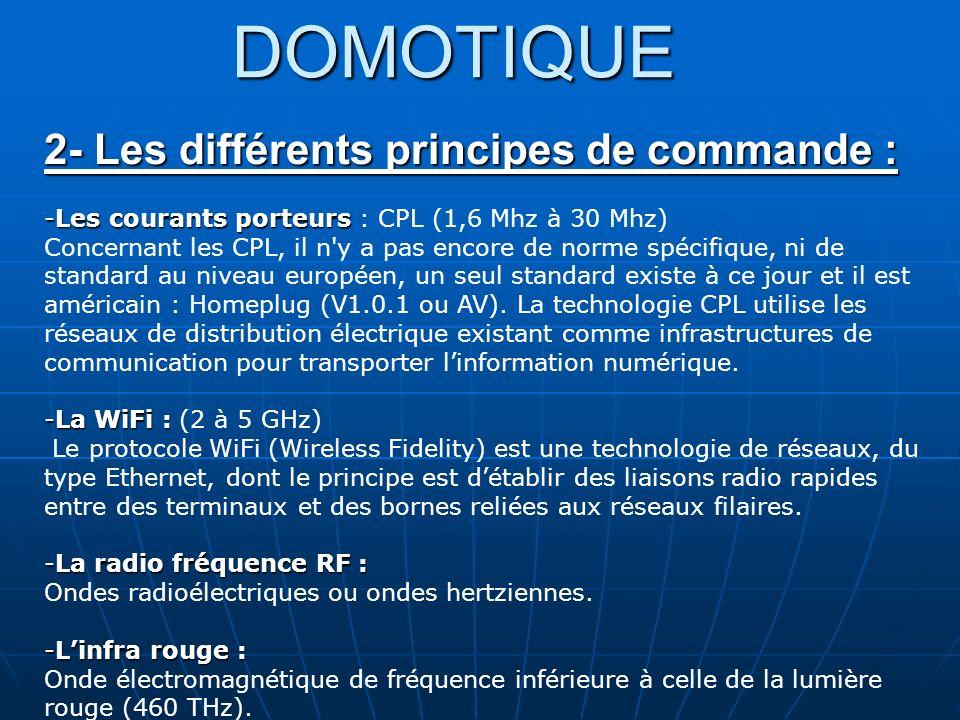 DOMOTIQUE 2- Les différents principes de commande :