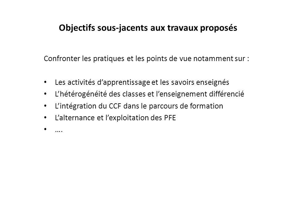 Objectifs sous-jacents aux travaux proposés