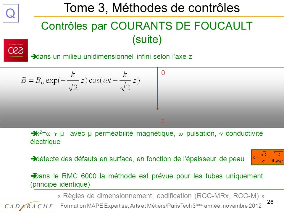 Contrôles par COURANTS DE FOUCAULT (suite)