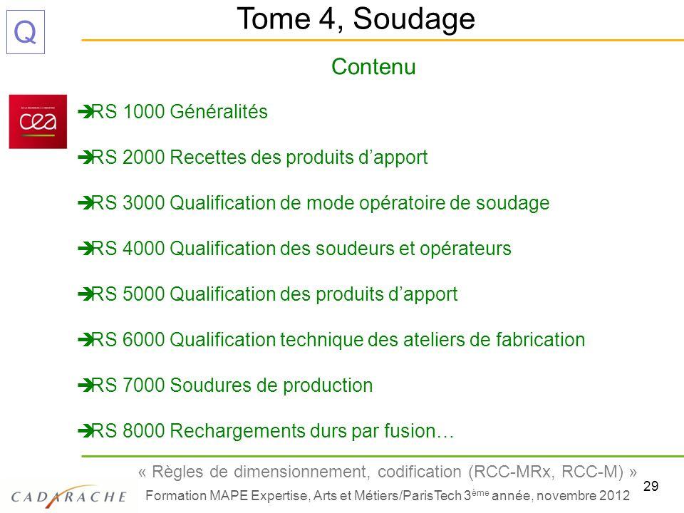 Tome 4, Soudage Contenu RS 1000 Généralités