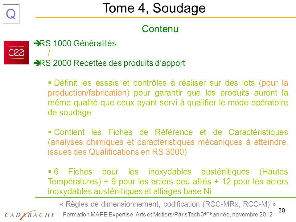 Tome 4, Soudage Contenu RS 1000 Généralités /