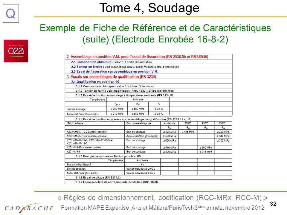 Tome 4, Soudage Exemple de Fiche de Référence et de Caractéristiques (suite) (Electrode Enrobée 16-8-2)