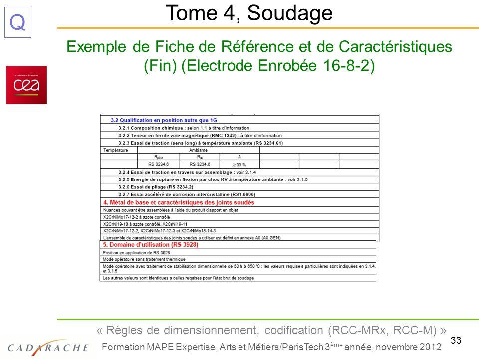 Tome 4, Soudage Exemple de Fiche de Référence et de Caractéristiques (Fin) (Electrode Enrobée 16-8-2)
