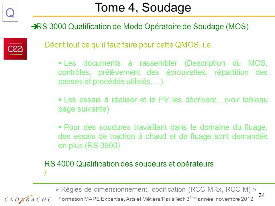 Tome 4, Soudage RS 3000 Qualification de Mode Opératoire de Soudage (MOS) Décrit tout ce qu'il faut faire pour cette QMOS, i.e.