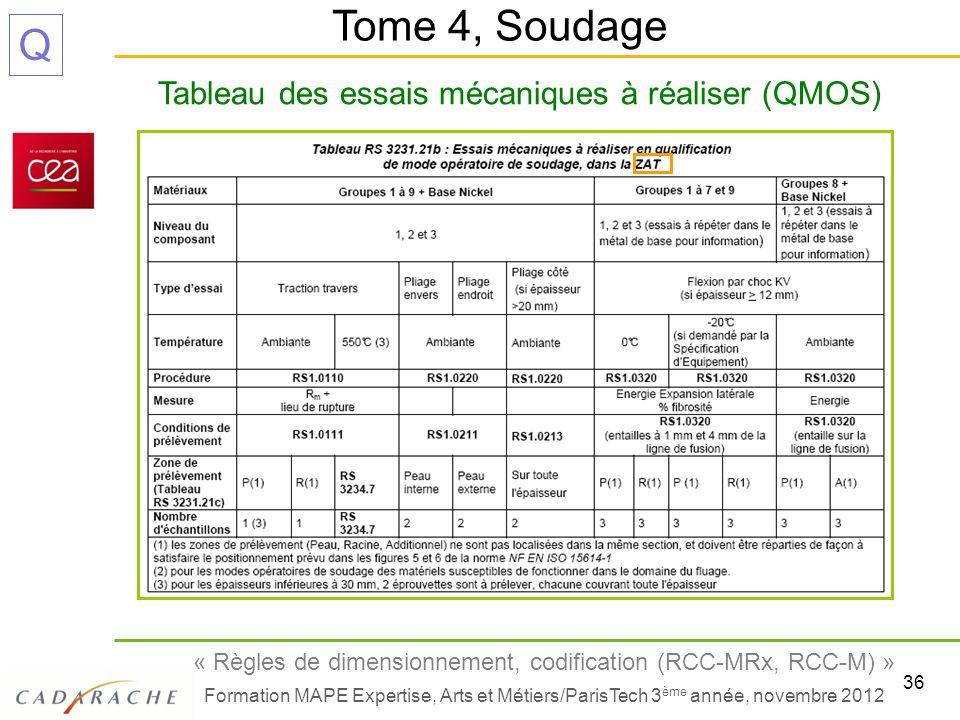 Tableau des essais mécaniques à réaliser (QMOS)