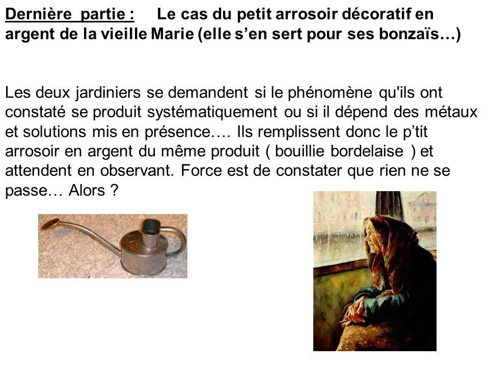 Dernière partie : Le cas du petit arrosoir décoratif en argent de la vieille Marie (elle s'en sert pour ses bonzaïs…)