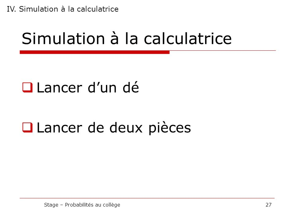 Simulation à la calculatrice