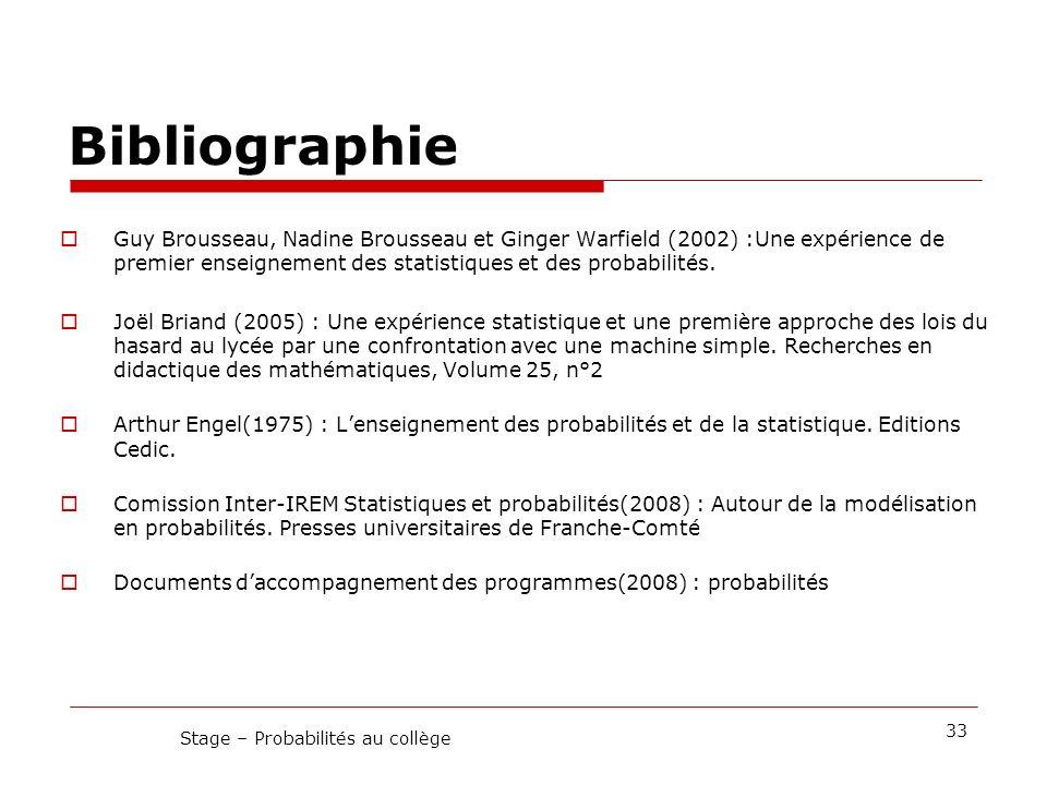 Stage – Probabilités au collège