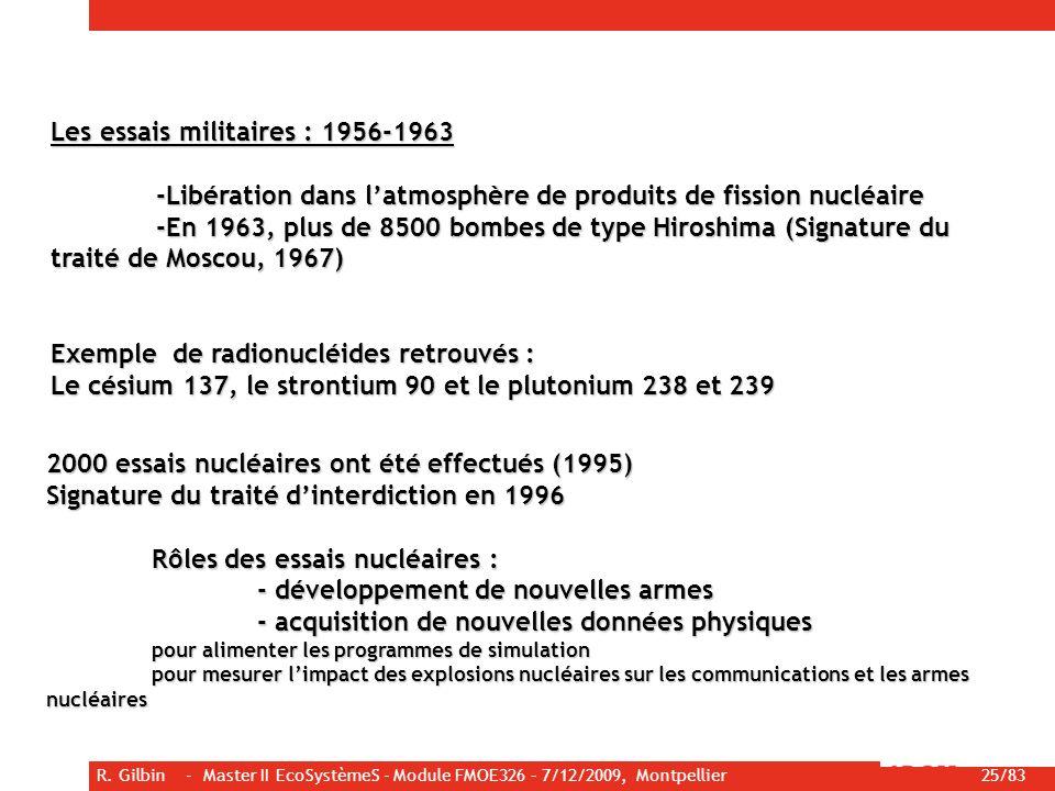 Les essais militaires : 1956-1963