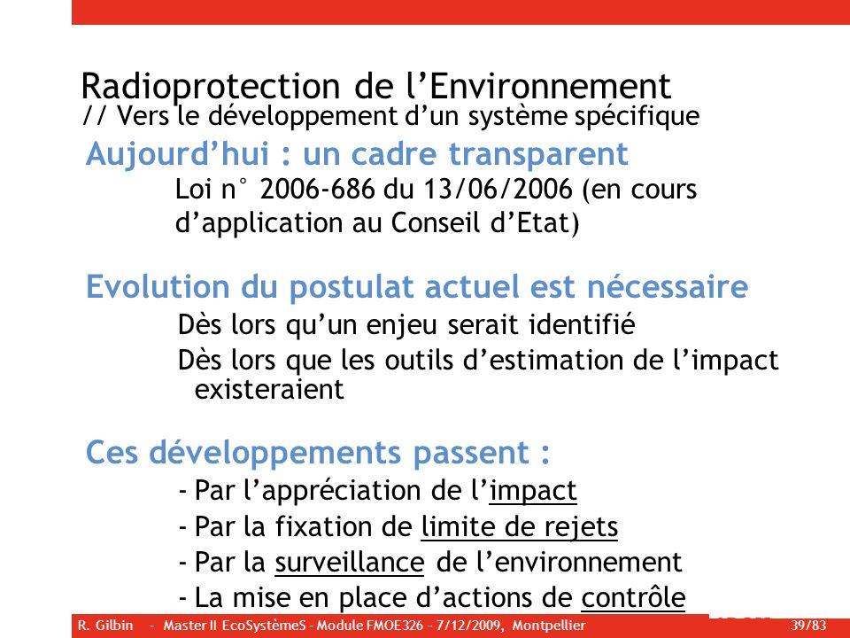Radioprotection de l'Environnement // Vers le développement d'un système spécifique
