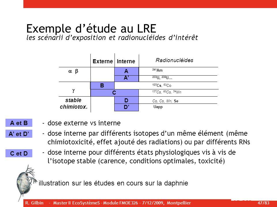 Exemple d'étude au LRE les scénarii d'exposition et radionucléides d'intérêt