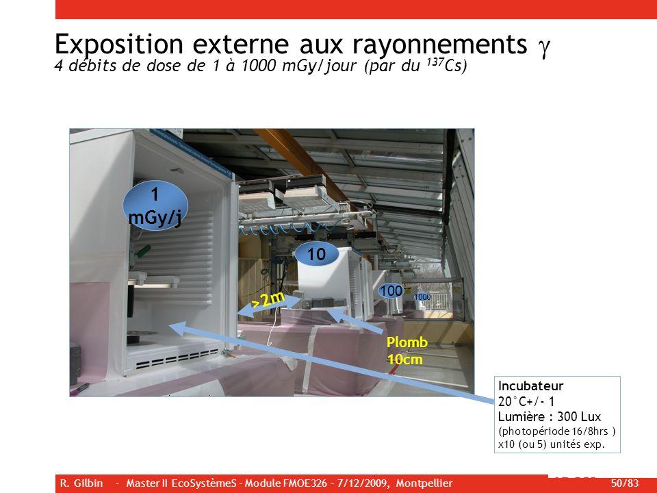 Exposition externe aux rayonnements g 4 débits de dose de 1 à 1000 mGy/jour (par du 137Cs)