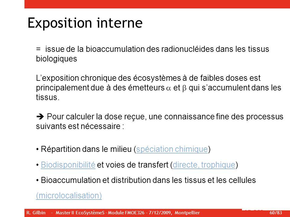 Exposition interne = issue de la bioaccumulation des radionucléides dans les tissus biologiques.