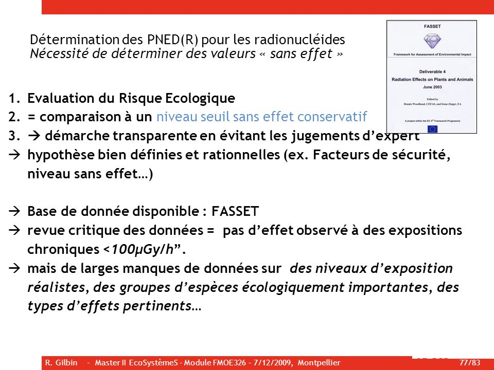 Evaluation du Risque Ecologique