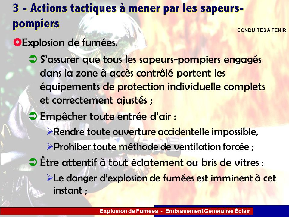 3 - Actions tactiques à mener par les sapeurs-pompiers