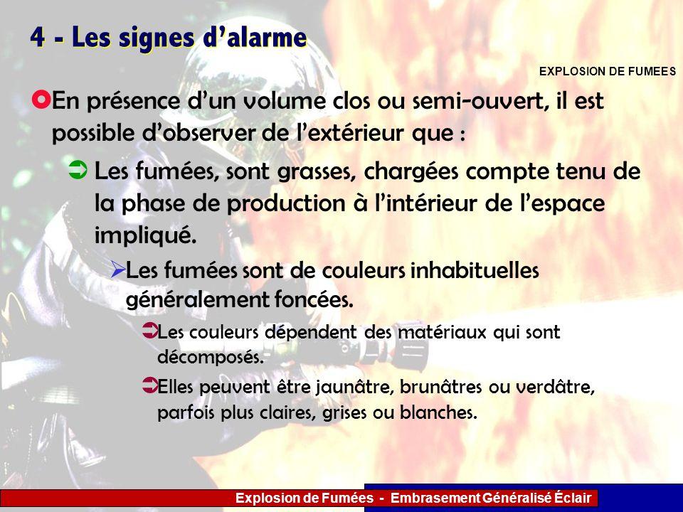 4 - Les signes d'alarme EXPLOSION DE FUMEES. En présence d'un volume clos ou semi-ouvert, il est possible d'observer de l'extérieur que :