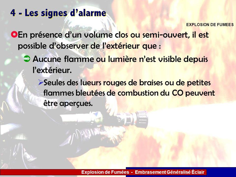 4 - Les signes d'alarmeEXPLOSION DE FUMEES. En présence d'un volume clos ou semi-ouvert, il est possible d'observer de l'extérieur que :