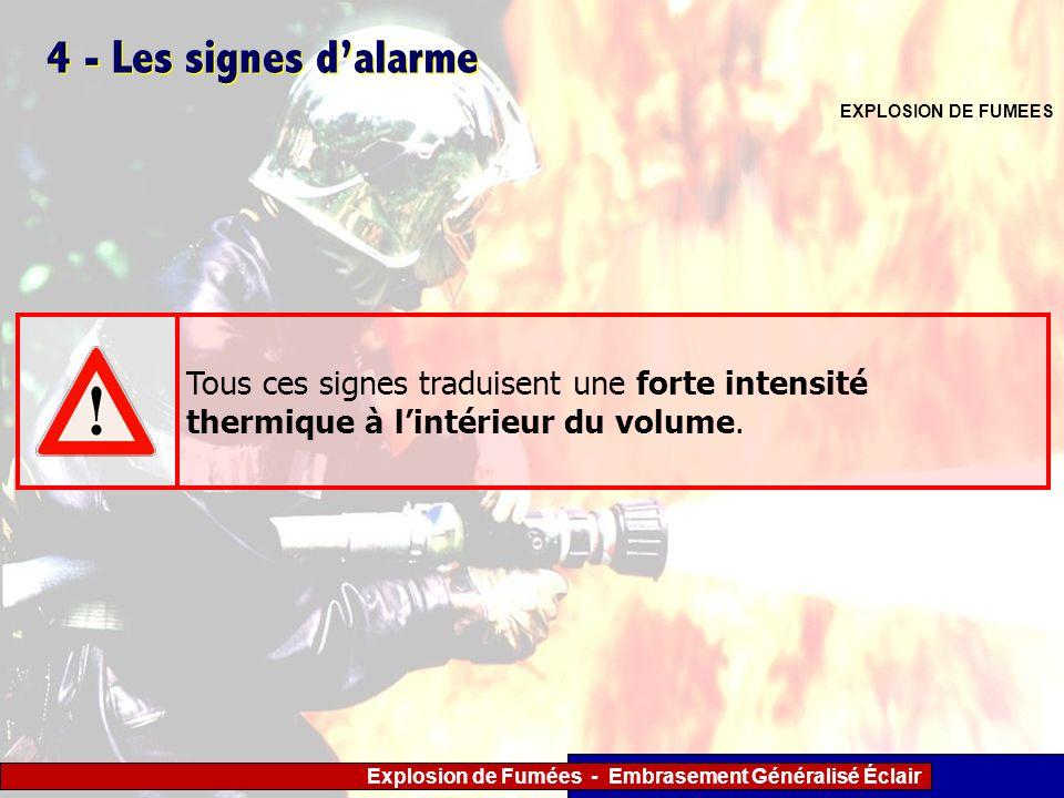 4 - Les signes d'alarme EXPLOSION DE FUMEES.