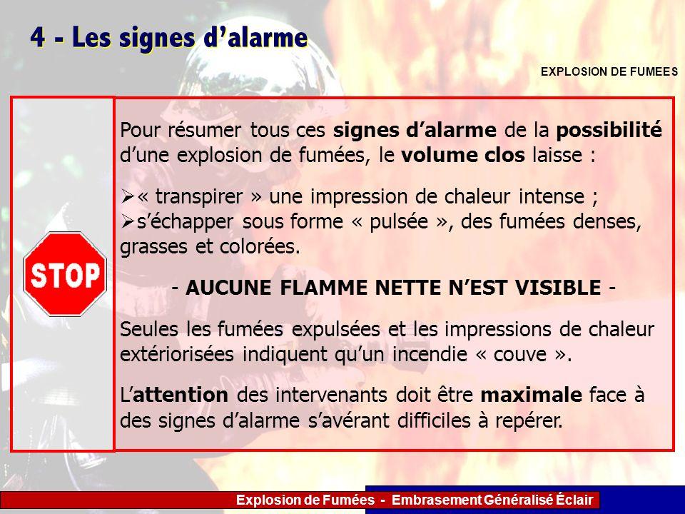 - AUCUNE FLAMME NETTE N'EST VISIBLE -
