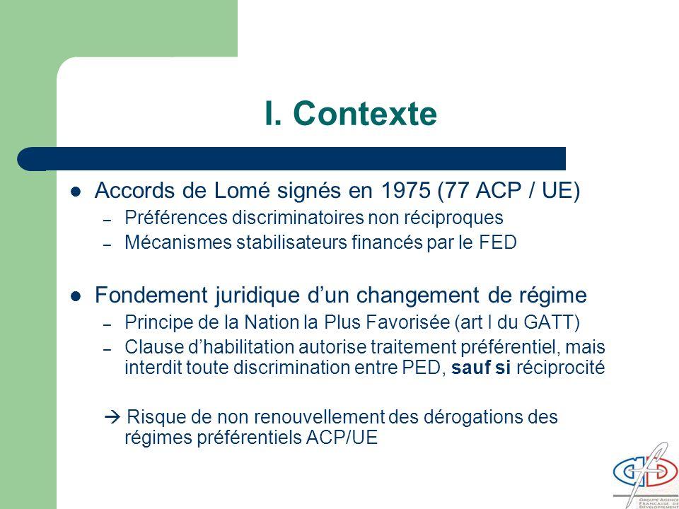 I. Contexte Accords de Lomé signés en 1975 (77 ACP / UE)