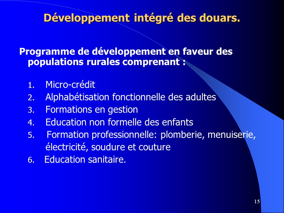 Développement intégré des douars.