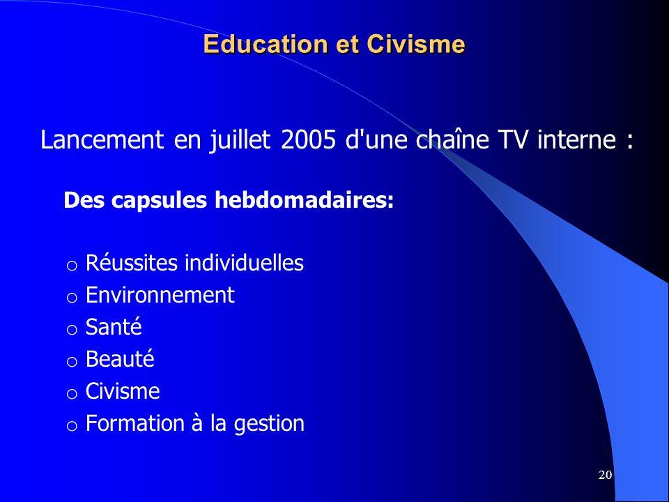 Lancement en juillet 2005 d une chaîne TV interne :