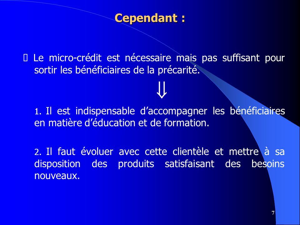 Cependant : Ø Le micro-crédit est nécessaire mais pas suffisant pour sortir les bénéficiaires de la précarité.