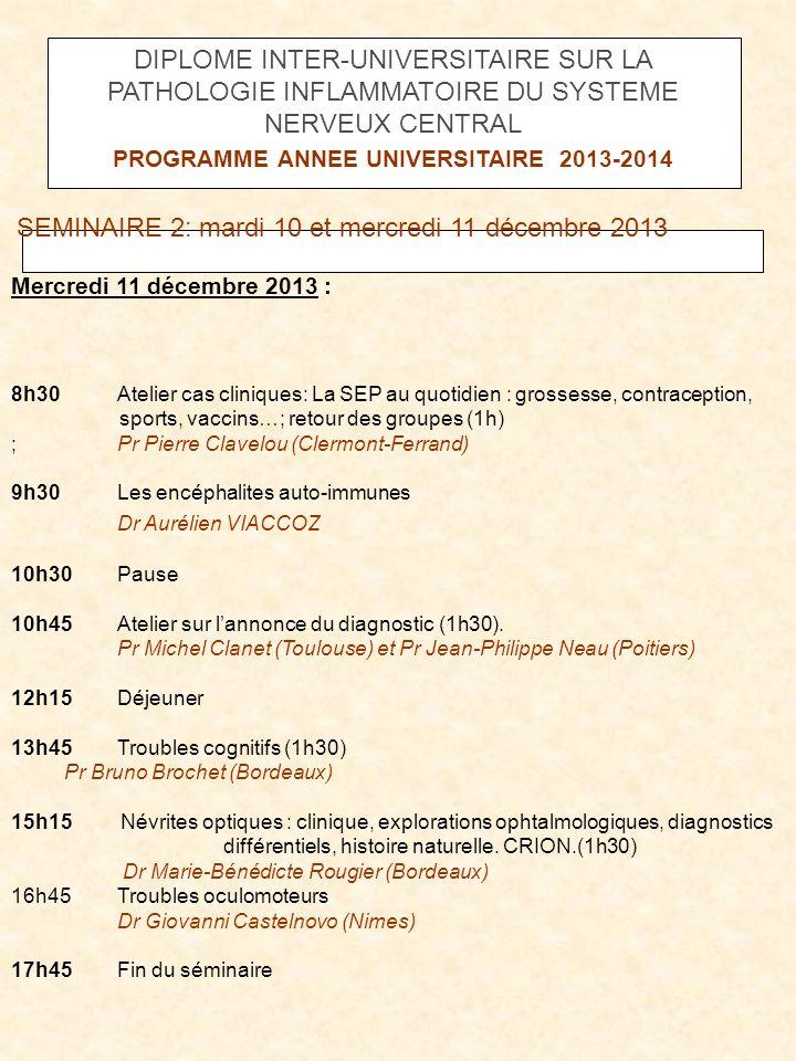 PROGRAMME ANNEE UNIVERSITAIRE 2013-2014