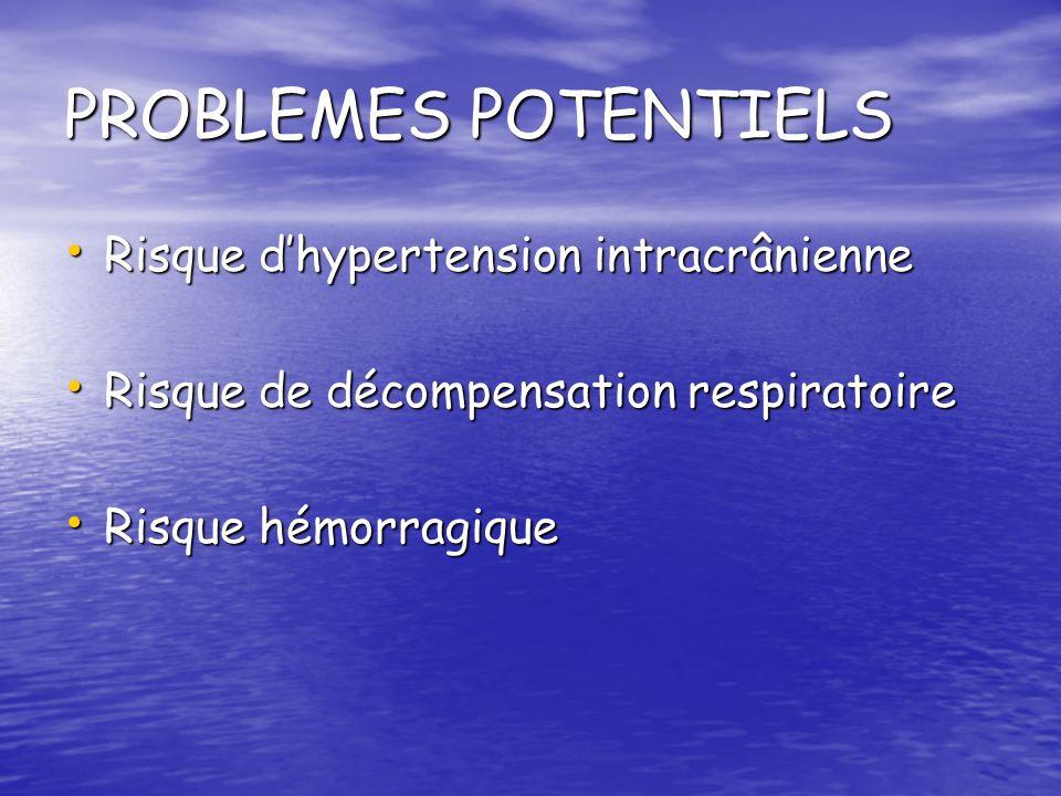 PROBLEMES POTENTIELS Risque d'hypertension intracrânienne