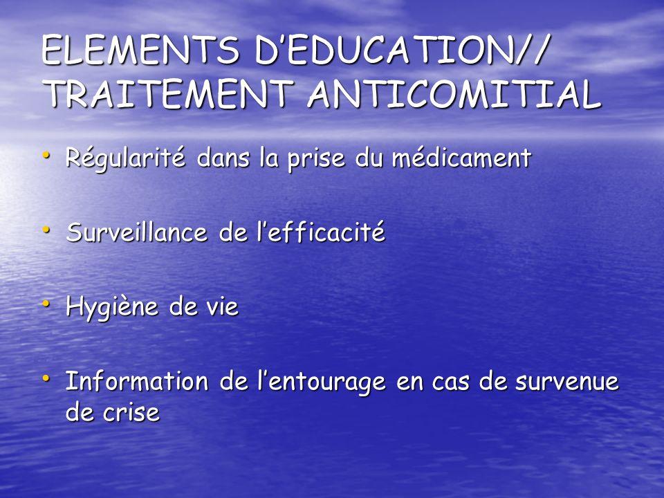 ELEMENTS D'EDUCATION// TRAITEMENT ANTICOMITIAL