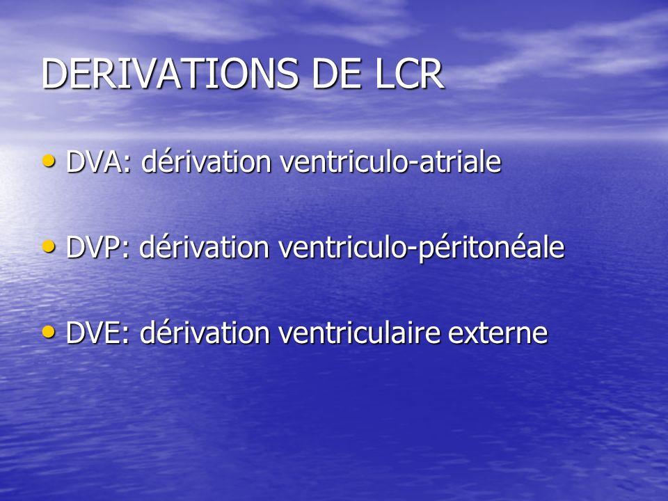DERIVATIONS DE LCR DVA: dérivation ventriculo-atriale