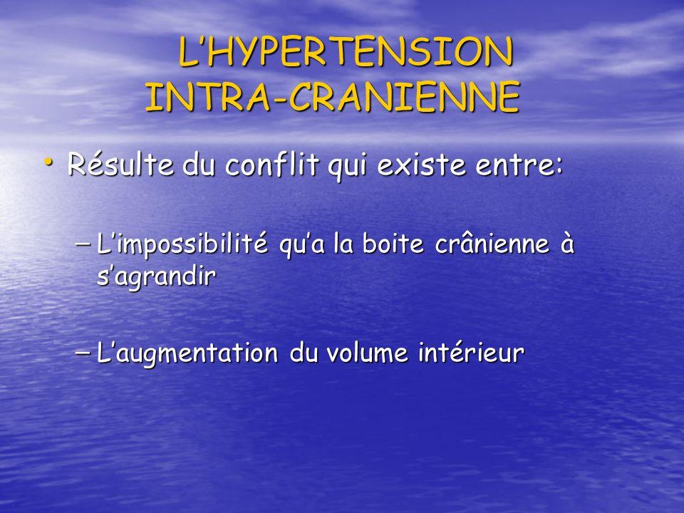 L'HYPERTENSION INTRA-CRANIENNE