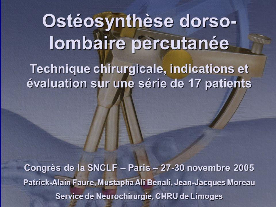 Ostéosynthèse dorso-lombaire percutanée