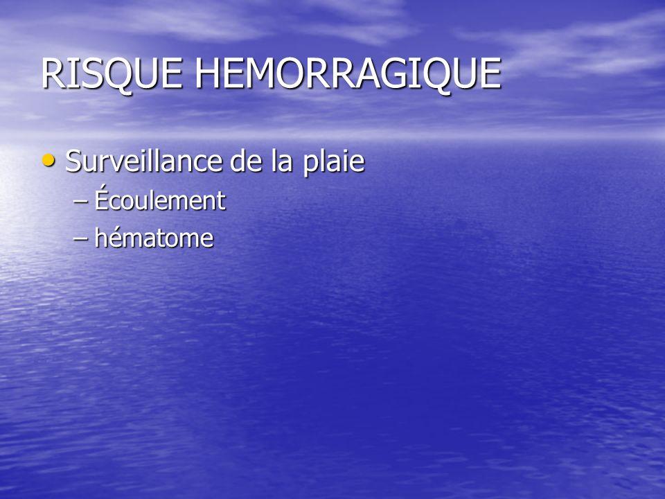 RISQUE HEMORRAGIQUE Surveillance de la plaie Écoulement hématome