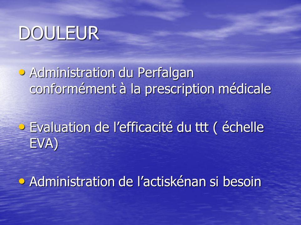 DOULEUR Administration du Perfalgan conformément à la prescription médicale. Evaluation de l'efficacité du ttt ( échelle EVA)
